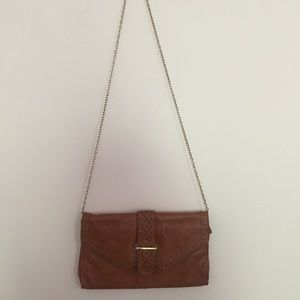 Light Brown Faux Leather Crossbody Bag